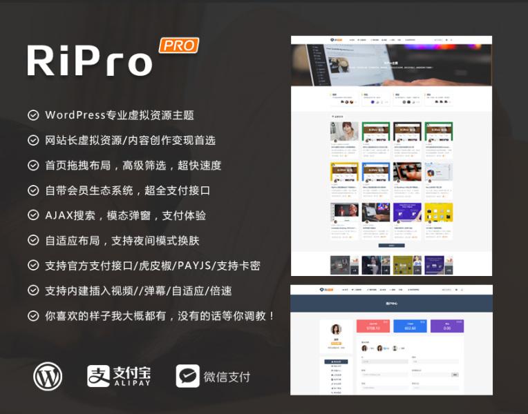 WordPress模板RIPro主题 5.5免授权版本 破解版 新增免登录支付和子主题